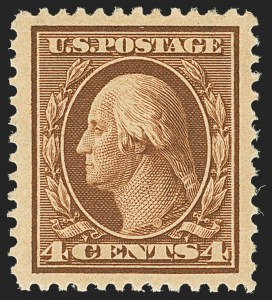 Sale Number 1163, Lot Number 255, 1908-10 Washington-Franklin Issues (Scott 331-356)4c Orange Brown (334), 4c Orange Brown (334)