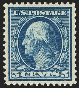 Sale Number 1163, Lot Number 256, 1908-10 Washington-Franklin Issues (Scott 331-356)5c Blue (335), 5c Blue (335)