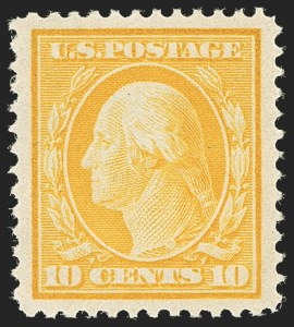 Sale Number 1163, Lot Number 259, 1908-10 Washington-Franklin Issues (Scott 331-356)10c Yellow (338), 10c Yellow (338)
