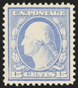 Sale Number 1163, Lot Number 261, 1908-10 Washington-Franklin Issues (Scott 331-356)15c Pale Ultramarine (340), 15c Pale Ultramarine (340)