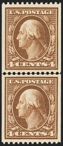Sale Number 1163, Lot Number 267, 1908-10 Washington-Franklin Issues (Scott 331-356)4c Orange Brown, Coil (350), 4c Orange Brown, Coil (350)