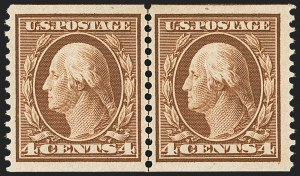 Sale Number 1163, Lot Number 271, 1908-10 Washington-Franklin Issues (Scott 331-356)4c Orange Brown, Coil (354), 4c Orange Brown, Coil (354)
