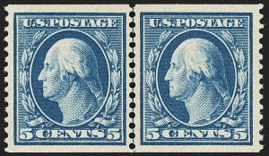 Sale Number 1163, Lot Number 272, 1908-10 Washington-Franklin Issues (Scott 331-356)5c Blue, Coil (355), 5c Blue, Coil (355)