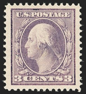 Sale Number 1163, Lot Number 283, 1910-13 Washington-Franklin Issue (Scott 374-396)3c Deep Violet (376), 3c Deep Violet (376)