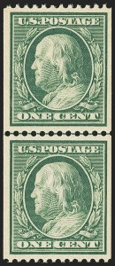 Sale Number 1163, Lot Number 290, 1910-13 Washington-Franklin Issue (Scott 374-396)1c Green, Coil (385), 1c Green, Coil (385)