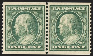 Sale Number 1163, Lot Number 292, 1910-13 Washington-Franklin Issue (Scott 374-396)1c Green, Coil (387), 1c Green, Coil (387)