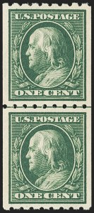Sale Number 1163, Lot Number 294, 1910-13 Washington-Franklin Issue (Scott 374-396)1c Green, Coil (390), 1c Green, Coil (390)