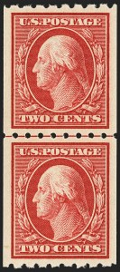 Sale Number 1163, Lot Number 295, 1910-13 Washington-Franklin Issue (Scott 374-396)2c Carmine, Coil (391), 2c Carmine, Coil (391)