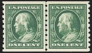 Sale Number 1163, Lot Number 296, 1910-13 Washington-Franklin Issue (Scott 374-396)1c Green, Coil (392), 1c Green, Coil (392)