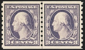 Sale Number 1163, Lot Number 298, 1910-13 Washington-Franklin Issue (Scott 374-396)3c Deep Violet, Coil (394), 3c Deep Violet, Coil (394)