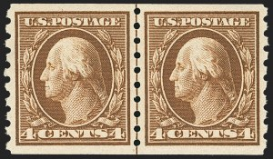 Sale Number 1163, Lot Number 299, 1910-13 Washington-Franklin Issue (Scott 374-396)4c Brown, Coil (395), 4c Brown, Coil (395)