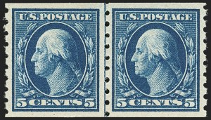 Sale Number 1163, Lot Number 300, 1910-13 Washington-Franklin Issue (Scott 374-396)5c Blue, Coil (396), 5c Blue, Coil (396)
