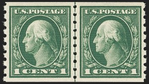 Sale Number 1163, Lot Number 311, 1912-14 Washington-Franklin Issue (Scott 405-423)1c Green, Coil (412), 1c Green, Coil (412)