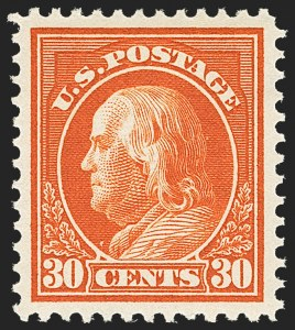 Sale Number 1163, Lot Number 319, 1912-14 Washington-Franklin Issue (Scott 405-423)30c Orange Red (420), 30c Orange Red (420)