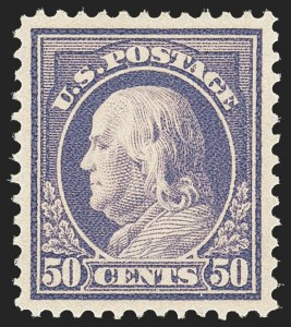 Sale Number 1163, Lot Number 321, 1912-14 Washington-Franklin Issue (Scott 405-423)50c Violet (422), 50c Violet (422)