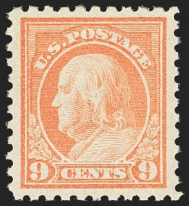 Sale Number 1163, Lot Number 329, 1913-15 Washington-Franklin Issues (Scott 424-440)9c Salmon Red (432), 9c Salmon Red (432)