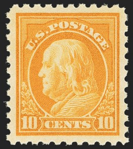 Sale Number 1163, Lot Number 330, 1913-15 Washington-Franklin Issues (Scott 424-440)10c Orange Yellow (433), 10c Orange Yellow (433)