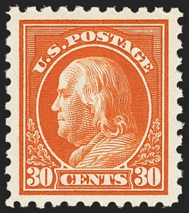 Sale Number 1163, Lot Number 336, 1913-15 Washington-Franklin Issues (Scott 424-440)30c Orange Red (439), 30c Orange Red (439)
