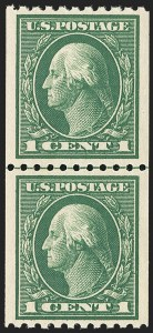 Sale Number 1163, Lot Number 338, 1913-15 Washington-Franklin Issues (Scott 441-461)1c Green, Coil (441), 1c Green, Coil (441)