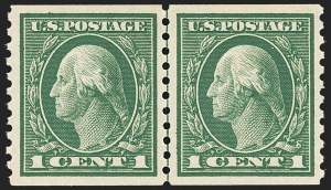 Sale Number 1163, Lot Number 339, 1913-15 Washington-Franklin Issues (Scott 441-461)1c Green, Coil (443), 1c Green, Coil (443)