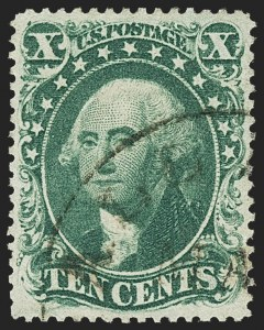 Sale Number 1163, Lot Number 34, 1857-60 Issue (Scott 19-39)10c Green, Ty. II (32), 10c Green, Ty. II (32)