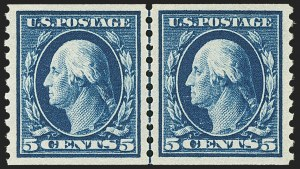 Sale Number 1163, Lot Number 343, 1913-15 Washington-Franklin Issues (Scott 441-461)5c Blue, Coil (447), 5c Blue, Coil (447)