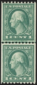 Sale Number 1163, Lot Number 344, 1913-15 Washington-Franklin Issues (Scott 441-461)1c Green, Coil (448), 1c Green, Coil (448)