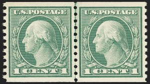 Sale Number 1163, Lot Number 346, 1913-15 Washington-Franklin Issues (Scott 441-461)1c Green, Coil (452), 1c Green, Coil (452)