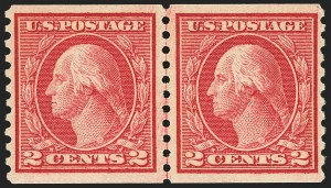 Sale Number 1163, Lot Number 347, 1913-15 Washington-Franklin Issues (Scott 441-461)2c Carmine Rose, Ty. I, Coil (453), 2c Carmine Rose, Ty. I, Coil (453)