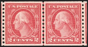 Sale Number 1163, Lot Number 348, 1913-15 Washington-Franklin Issues (Scott 441-461)2c Red, Ty. II, Coil (454), 2c Red, Ty. II, Coil (454)