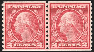 Sale Number 1163, Lot Number 349, 1913-15 Washington-Franklin Issues (Scott 441-461)2c Carmine, Ty. III, Coil (455), 2c Carmine, Ty. III, Coil (455)