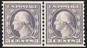 Sale Number 1163, Lot Number 350, 1913-15 Washington-Franklin Issues (Scott 441-461)3c Violet, Coil (456), 3c Violet, Coil (456)
