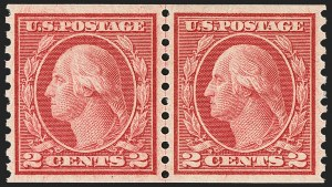 Sale Number 1163, Lot Number 376, 1917-19 Issues (Scott 481-524)2c Carmine, Ty. III, Coil (492), 2c Carmine, Ty. III, Coil (492)