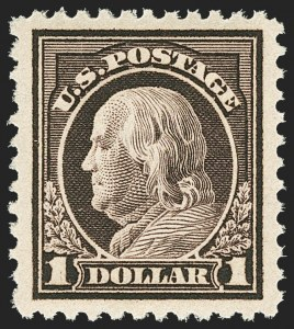 Sale Number 1163, Lot Number 393, 1917-19 Issues (Scott 481-524)$1.00 Violet Brown (518), $1.00 Violet Brown (518)