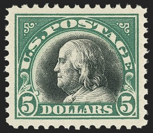 Sale Number 1163, Lot Number 395, 1917-19 Issues (Scott 481-524)$5.00 Deep Green & Black (524), $5.00 Deep Green & Black (524)