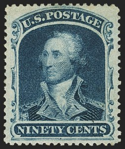 Sale Number 1163, Lot Number 41, 1857-60 Issue (Scott 19-39)90c Blue (39), 90c Blue (39)