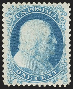 Sale Number 1163, Lot Number 42, 1875 Reprint of 1857-60 Issue (Scott 40-47)1c Bright Blue, Reprint (40), 1c Bright Blue, Reprint (40)