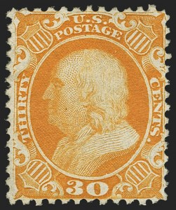 Sale Number 1163, Lot Number 44, 1875 Reprint of 1857-60 Issue (Scott 40-47)30c Yellow Orange, Reprint (46), 30c Yellow Orange, Reprint (46)