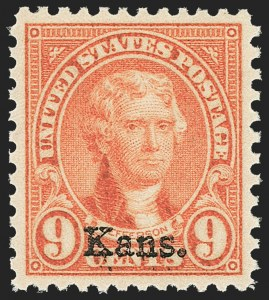 Sale Number 1163, Lot Number 458, 1925 and Later Issues (Scott 627-893)9c Kans. Ovpt. (667), 9c Kans. Ovpt. (667)