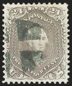 Sale Number 1163, Lot Number 55, 1861-66 Issue (Scott 56-78)24c Brown Lilac (70a), 24c Brown Lilac (70a)