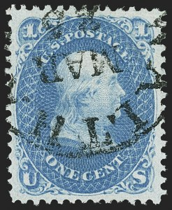 Sale Number 1163, Lot Number 71, 1867-68 Grilled Issue (Scott 79-101)1c Blue, F. Grill, Thin Paper (92 var), 1c Blue, F. Grill, Thin Paper (92 var)