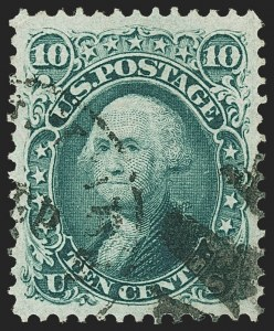 Sale Number 1163, Lot Number 74, 1867-68 Grilled Issue (Scott 79-101)10c Yellow Green, F. Grill (96), 10c Yellow Green, F. Grill (96)