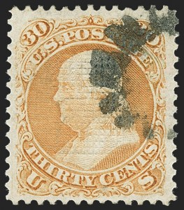 Sale Number 1163, Lot Number 77, 1867-68 Grilled Issue (Scott 79-101)30c Orange, F. Grill (100), 30c Orange, F. Grill (100)