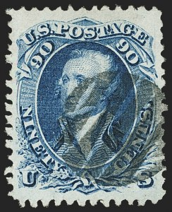Sale Number 1163, Lot Number 78, 1867-68 Grilled Issue (Scott 79-101)90c Blue, F. Grill (101), 90c Blue, F. Grill (101)