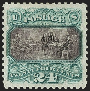Sale Number 1163, Lot Number 91, 1875 Re-Issue of 1869 Pictorial Issue (Scott 123-133a)24c Green & Violet, Re-Issue (130), 24c Green & Violet, Re-Issue (130)