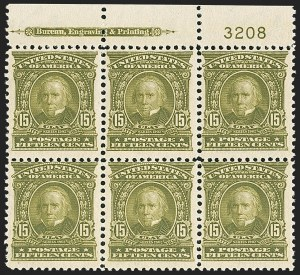 Sale Number 1165, Lot Number 133, 1902-08 Issue: Issued Stamps, 1c-50c15c Olive Green (309), 15c Olive Green (309)