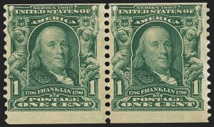 Sale Number 1165, Lot Number 152, 1902-08 Issue: Issued Stamps, Imperforates, Coils, 2c Shield1c Blue Green, Coil (318), 1c Blue Green, Coil (318)