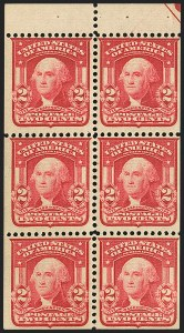 Sale Number 1165, Lot Number 158, 1902-08 Issue: Issued Stamps, Imperforates, Coils, 2c Shield2c Carmine, Ty. I, Booklet Pane of Six, Ball Marker (319g var), 2c Carmine, Ty. I, Booklet Pane of Six, Ball Marker (319g var)