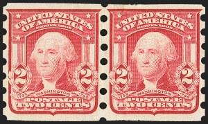 Sale Number 1165, Lot Number 163, 1902-08 Issue: Issued Stamps, Vending and Affixing Machine Perforations2c Carmine, Mailometer Ty. I-IV (320), 2c Carmine, Mailometer Ty. I-IV (320)