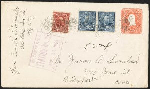 Sale Number 1165, Lot Number 190, 1902-08 Issue: Covers, 1c-15c6c Claret (305), 6c Claret (305)
